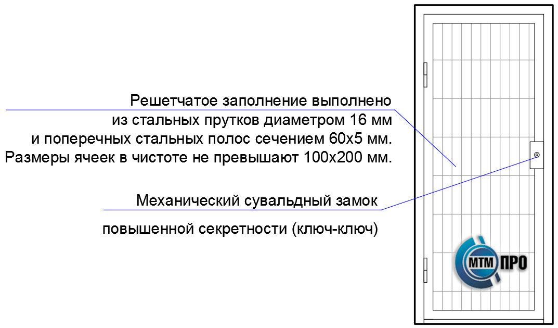 Дверь решетчатая серии «КВАДРО-16-60х5»
